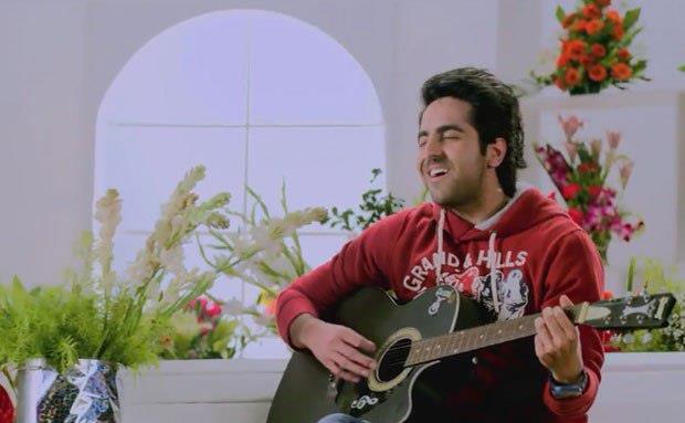 Ayushmann Playing Guitar Photo Still From Movie Nautanki Saala