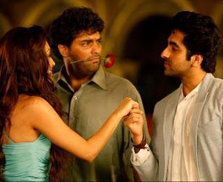Ayushmann,Kunaal And Pooja Cute Expression Photo Still From Movie Nautanki Saala