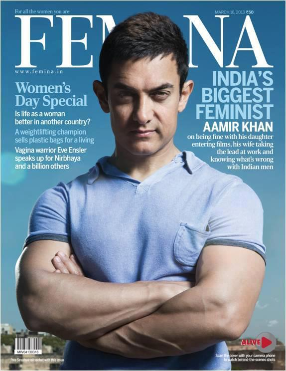 Aamir Khan On The Cover Of Women's Day Special Edition Of Femina 2013