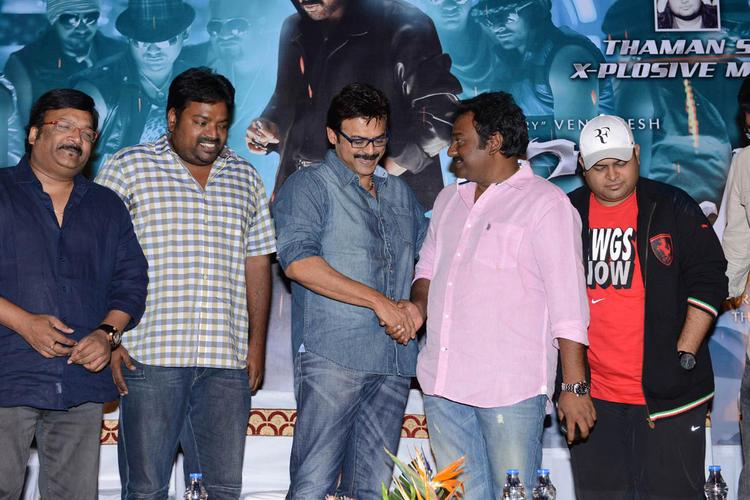 Kona Venkat,Meher Ramesh,Venkatesh And V. V. Vinayak Clicked At Shadow Movie Title Track Release Function