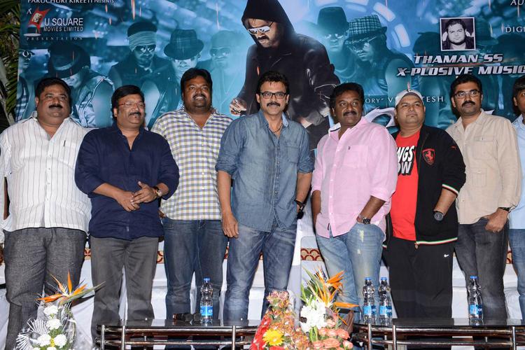 Paruchuri Prasad,Kona Venkat,Meher Ramesh,Venkatesh And V. V. Vinayak Posed For Camera At Shadow Movie Title Track Release Function