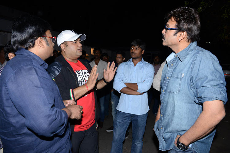 Venkatesh And Kona Venkat Chatting Still At Shadow Movie Title Track Release Function