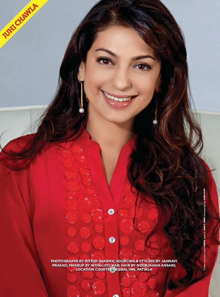 Juhi Chawla Smiling Cute Photo Shoot For Good Housekeeping India March 2013