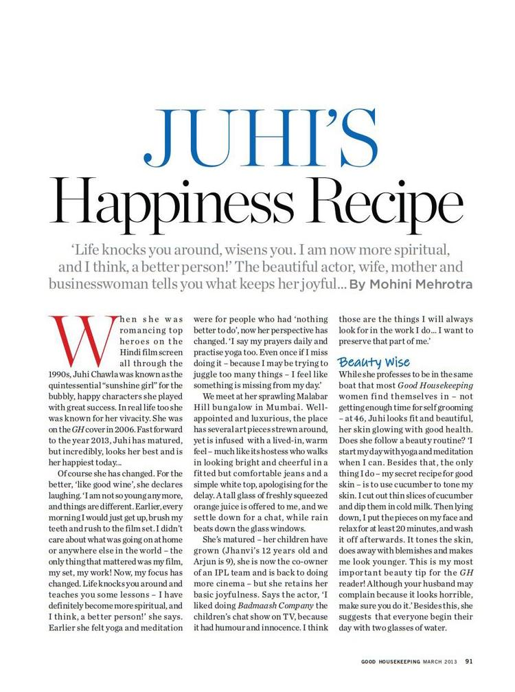 Juhi's Happiness Recipe Article Published In Good Housekeeping India March 2013