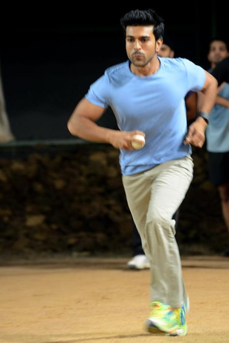 Ram Charan In Bowling Action Snapp Taken During A Practice Session