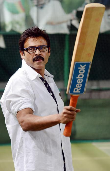Venkatesh Shows The Bat Photo Clicked During A Practice Session For CCL Match