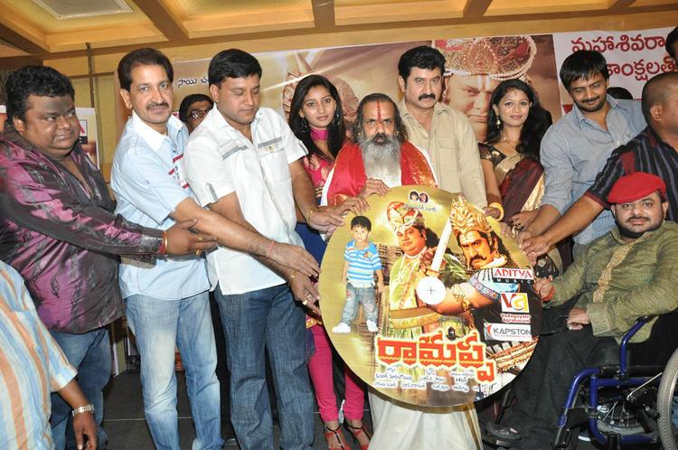 Sairam Shankar,Suman And Music Director Chakri Posed For Camera At Ramappa Movie Audio Release
