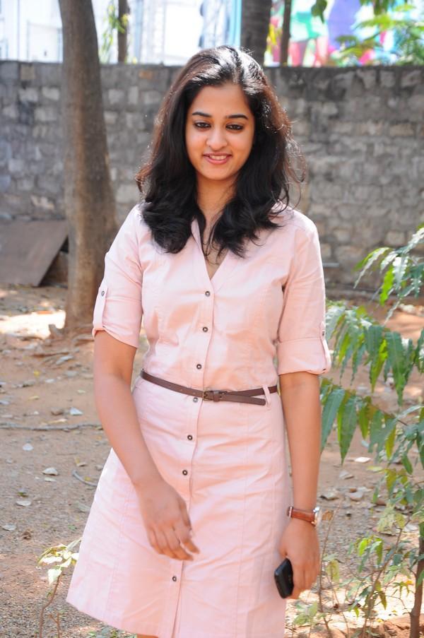 Nanditha In Pink Dress Smiling Look At Prema Katha Chitram Movie Press Meet
