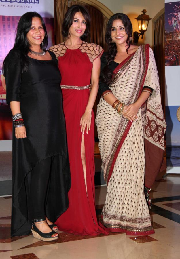 Vidya And Malaika With A Friend Pose For Camera At Indian Film Festival Of Melbourne