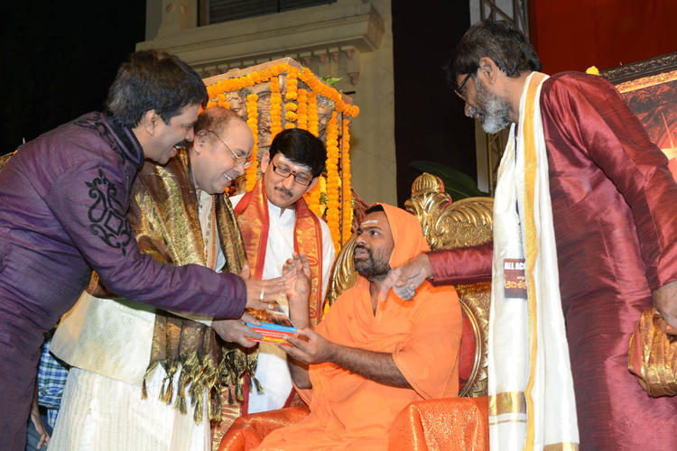 Saraswati Swami And JK Bharavi Photo Clicked At Jagadguru Adi Shankara Audio Launch