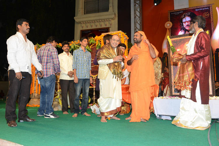 Saraswati Swami,JK Bharavi And Suresh Snapped On Stage At Jagadguru Adi Shankara Audio Launch