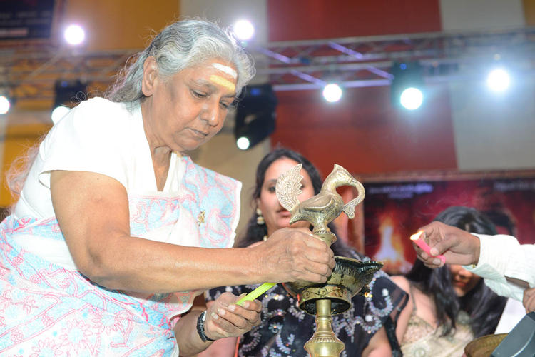 S.Janaki Lightening The Lamp At Jagadguru Adi Shankara Audio Launch