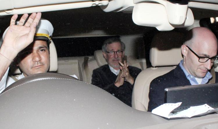Steven Spielberg Photo Clicked In Car On His Way To Celebrate The Success Of Oscar Winning Film Lincoln
