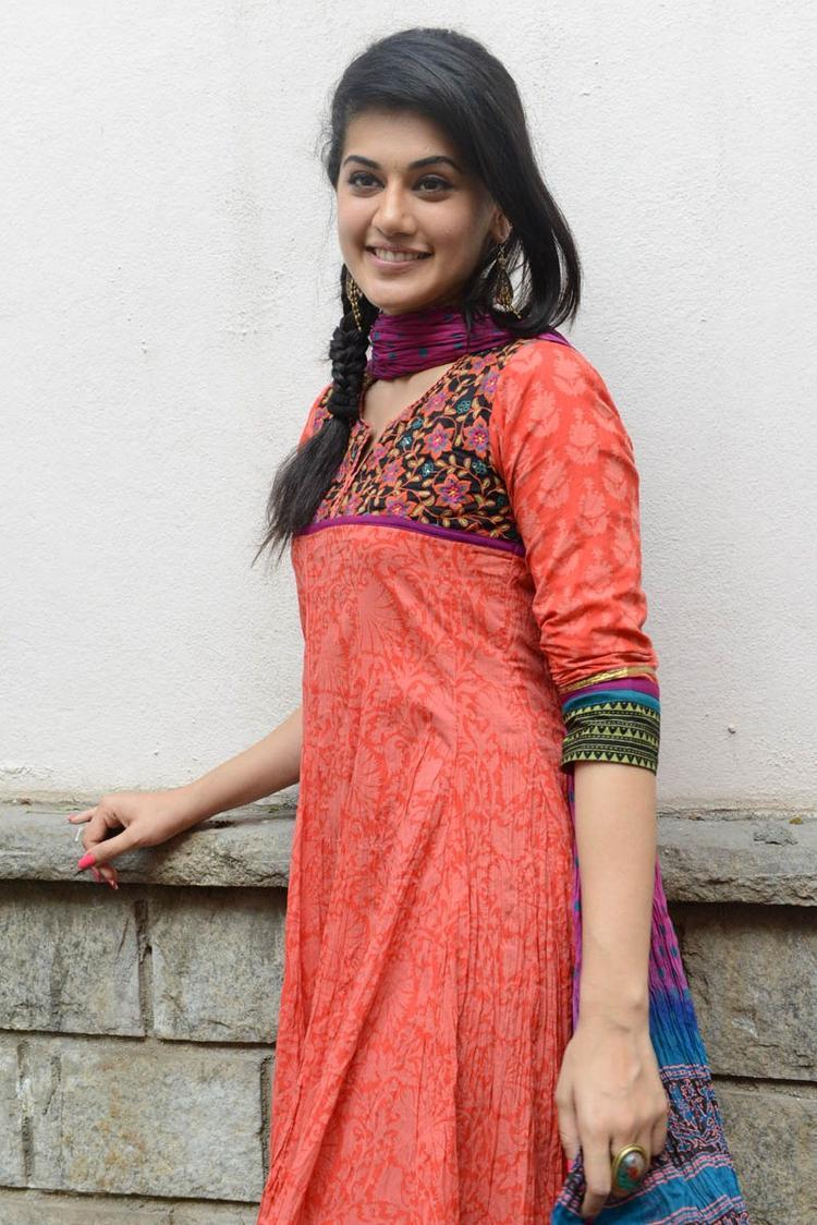 Taapsee Pannu In Orange Salwar Kameez Attend The Gundello Godari Movie Success Meet Function