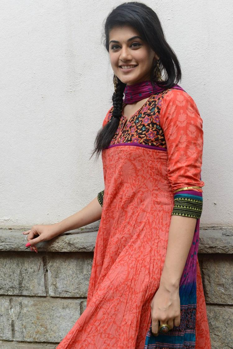 Taapsee Pannu In Orange Salwar Kameez Beautiful Look At Gundello Godari Movie Success Meet Function