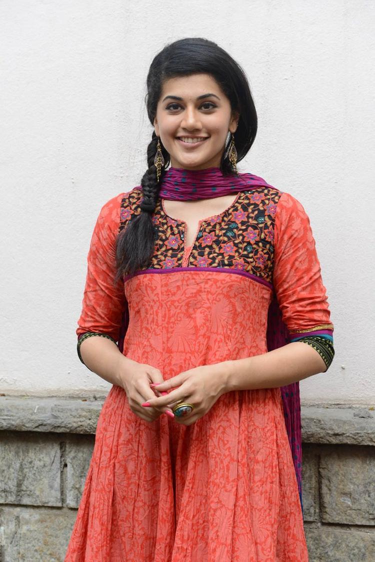 Taapsee Pannu In Orange Salwar Kameez Cool At Gundello Godari Movie Success Meet Function