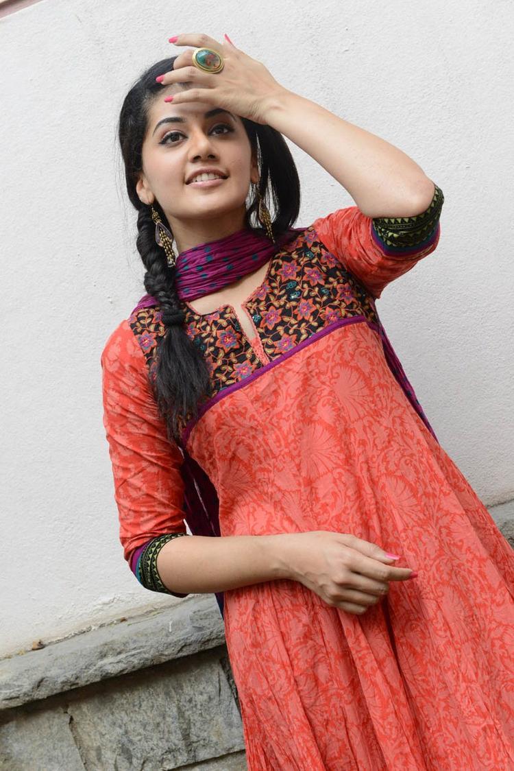 Taapsee Pannu In Orange Salwar Kameez At Gundello Godari Movie Success Meet Function