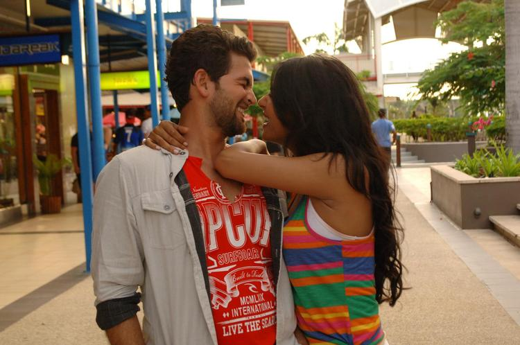 Sonal And Neil Nitin Smiling Hug Photo Still From Movie 3G