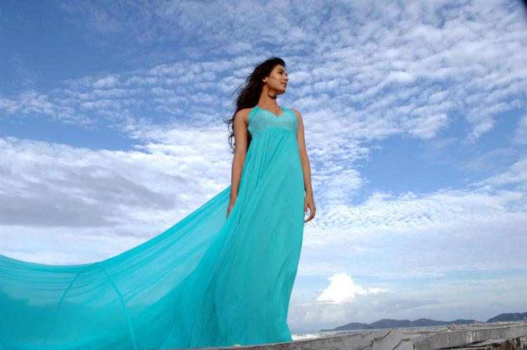 Sonal Chauhan Gorgeous Look In A Sky Color Gown Photo Still From Movie 3G