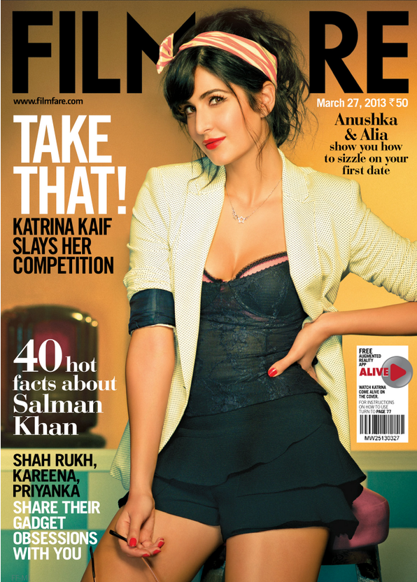 Katrina Kaif On The Cover Of Filmfare Magazine March 2013 Issue