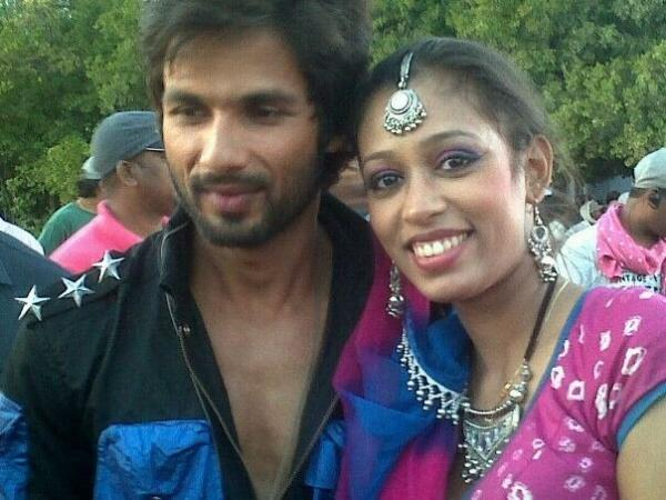 Shahid  With A Co-Star Smiling Posed For Camera On The Sets Of Rambo Rajkumar