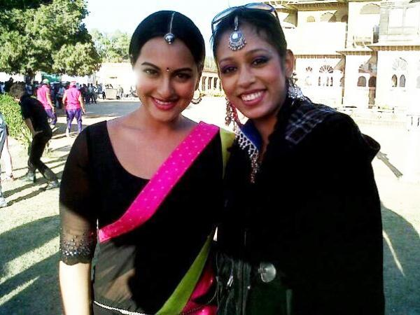 Sonakshi With A Co-Star Cute Smiling Pose On The Sets Of Rambo Rajkumar