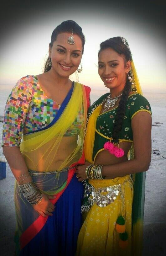Sonakshi With A Co-Star Posed For Camera On The Sets Of Rambo Rajkumar
