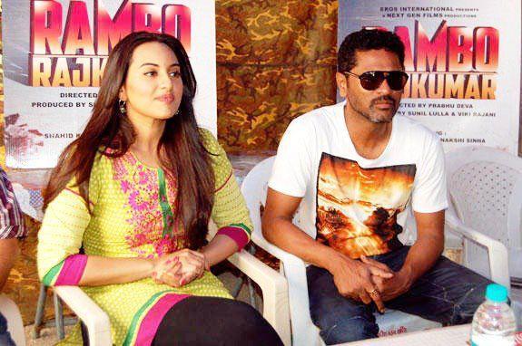 Sonakshi And Prabhu Cute Look Photo Clicked At Rambo Rajkumar Press Meet In Gondal
