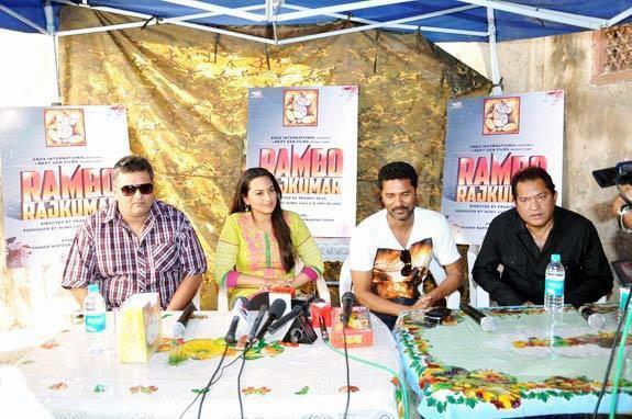 Sonakshi,Viki,Shiraz And Prabhu Photo Clicked At Rambo Rajkumar Press Meet