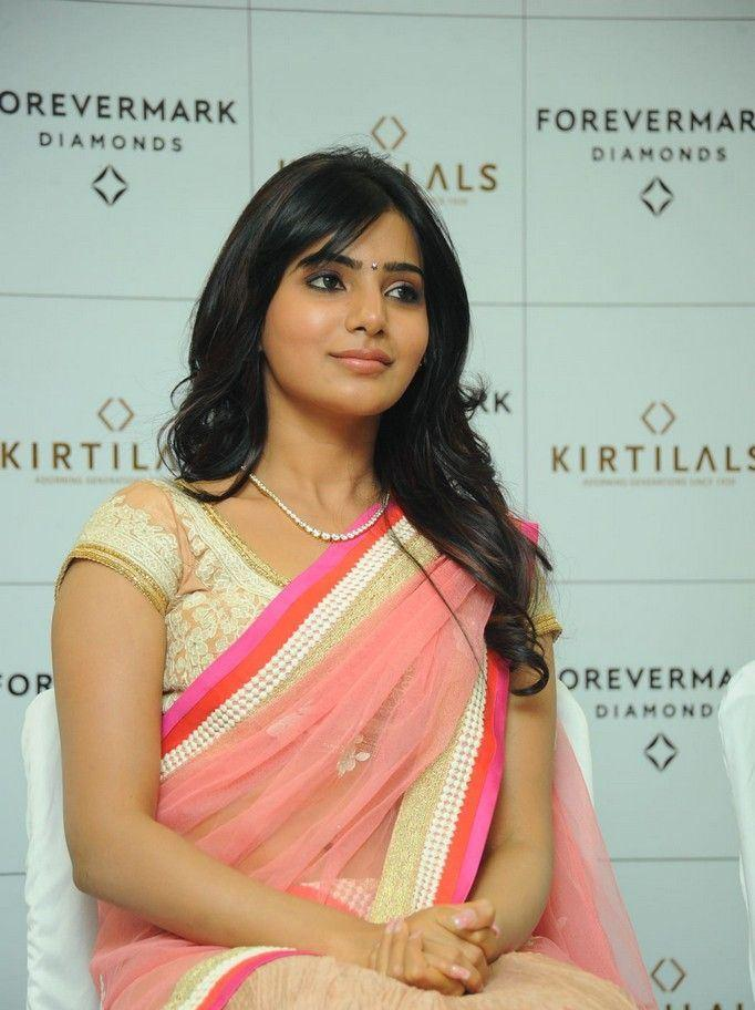 Samantha Looked Hot In A Pink Saree At The Launch Of Diamond Jewellery In Kirtilal Jewellers