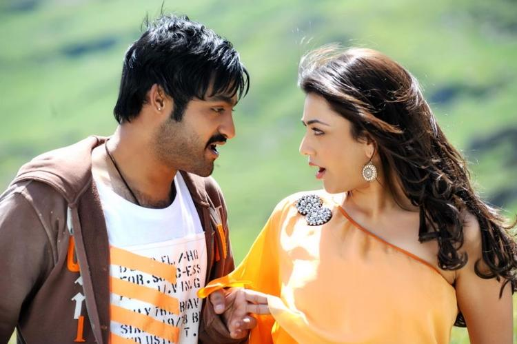 NTR And Kajal Awesome Expression Photo Stills From Movie Baadshah