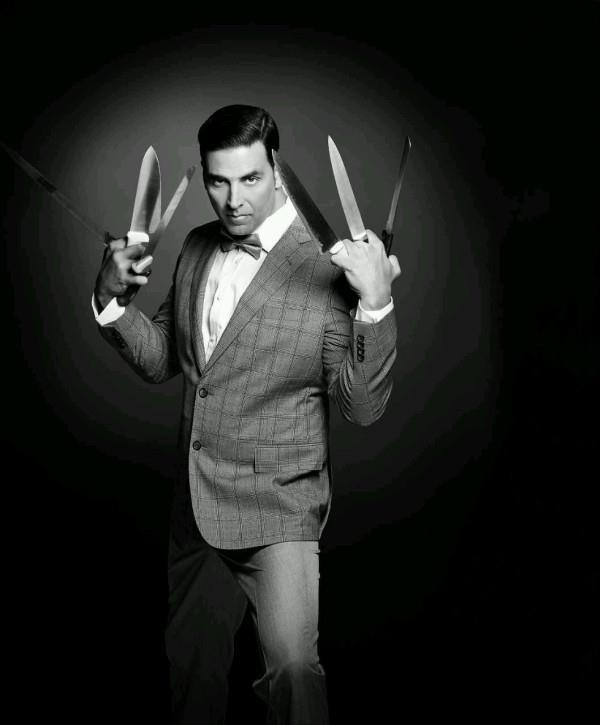 Akshay Crazy Look Photo Shoot With Knives In Hand For Man's World Magazine