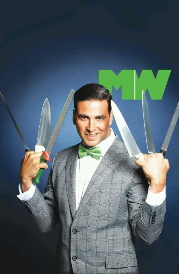 Akshay With Knives Photo Shoot For Man's World Magazine March 2013