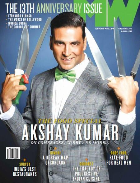 Akshay  Smiling Pose On The Cover Of Man's World Magazine