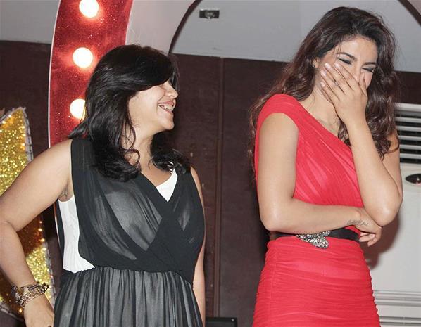Ekta And Priyanka Smiling Photo Clicked At Launch Of Babli Badmaash Song