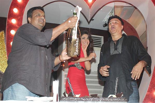 Sanjay Shakes The Champagne Photo Clicked At Launch Of Babli Badmaash Song
