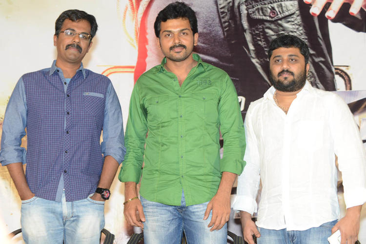 Karthi And Gnanavelraja Posed For Camera At Bad Boy Press Meet