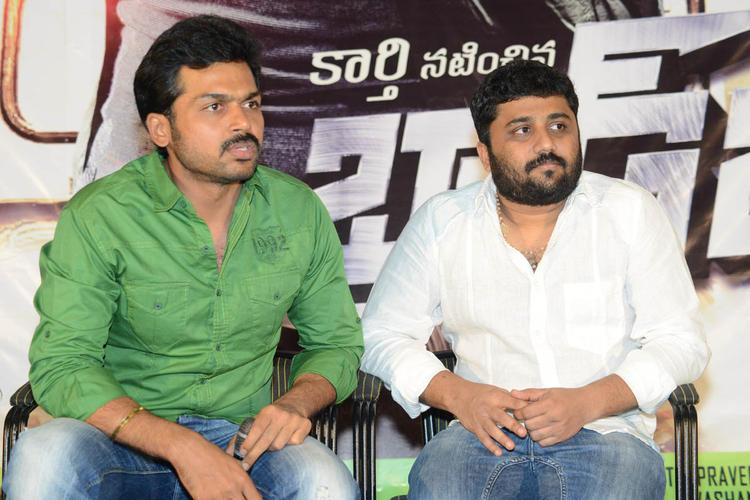 Karthi And Gnanavelraja Spotted At Bad Boy Press Meet