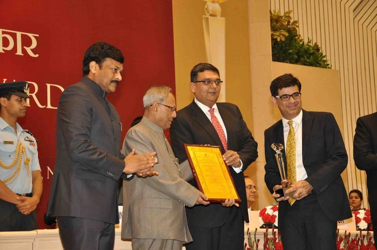 Pranab Mukherjee Presented Awards And Chiranjeevi Clapping Look At National Tourism Awards 2011-2012 Presentation Ceremony