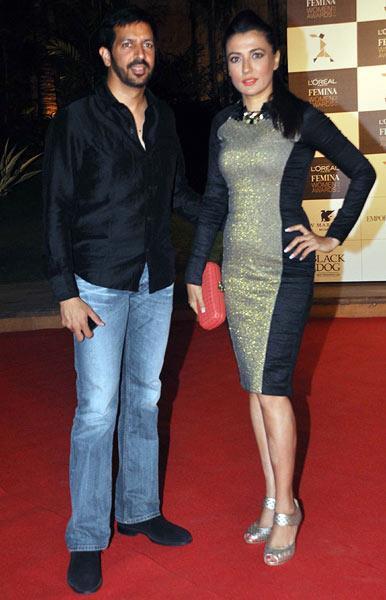 Kabir Khan With Wife Mini Mathur Clicked In Red Carpet At Loreal Femina Women Awards 2013