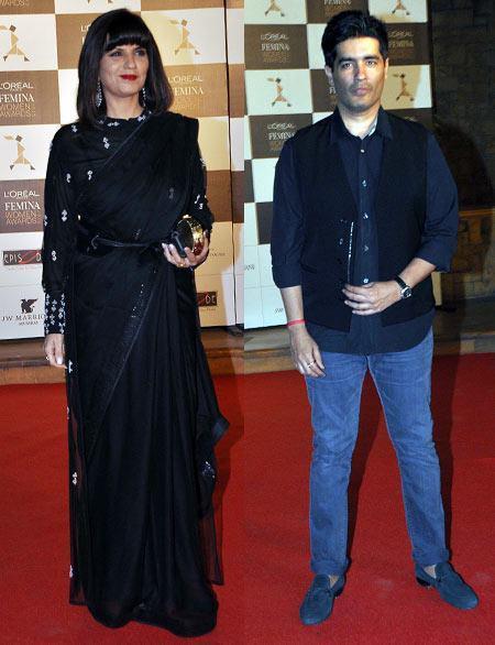 Neeta Lulla And Manish Malhotra Nice Pose In Red Carpet At Loreal Femina Women Awards 2013
