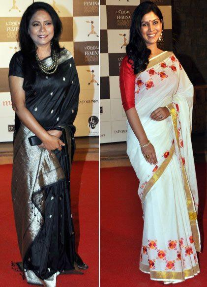 Seema Biswas And Sakshi Tanwar Posed In Red Carpet At Loreal Femina Women Awards 2013