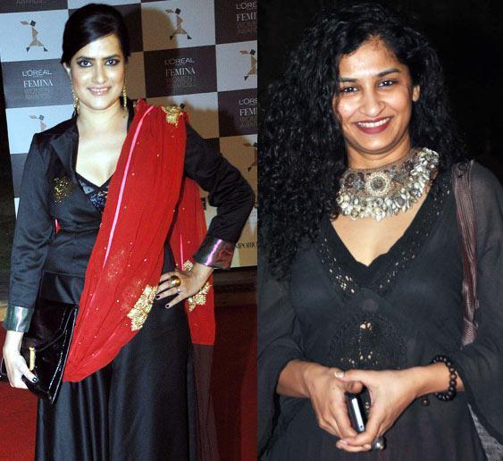 Sona Mohapatra And Gauri Shinde Dazzling Smiling Look At Loreal Femina Women Awards 2013