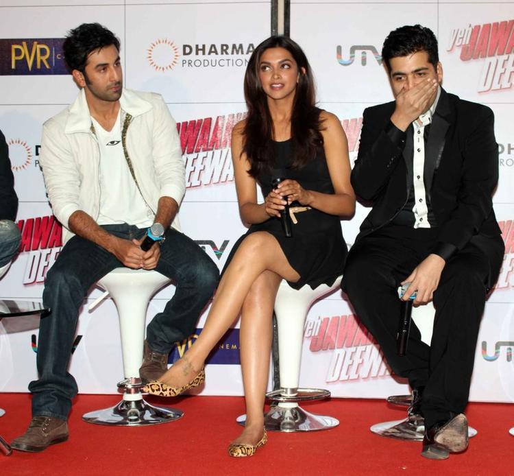 Ranbir,Deepika And Karan Spotted At Trailer Launch Of Yeh Jawaani Hai Deewani