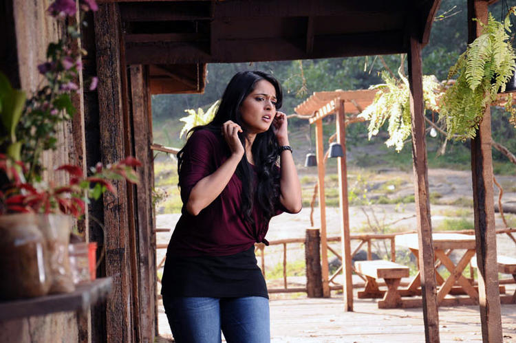 Anushka Talking On Mobile Photo Still From Telugu Movie Bad Boy