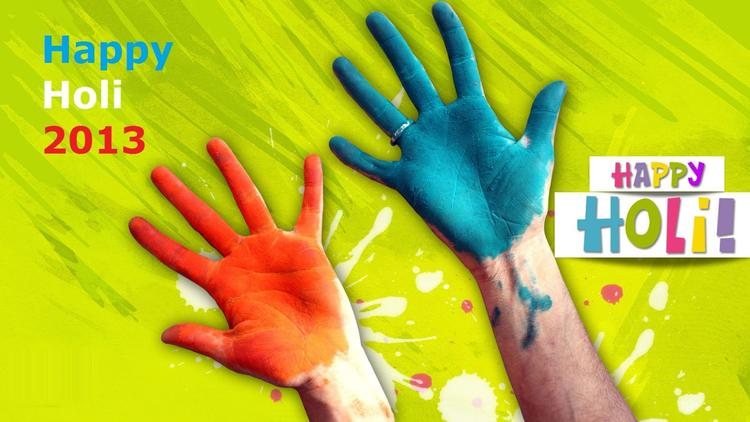 Happy Holi HD Hand Colored Photo Wallpaper