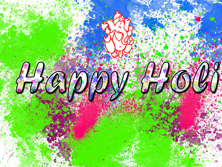 Happy Holi Wallpaper With Lord Ganesha