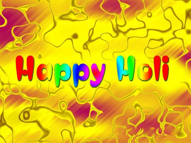 Latest Happy Holi With Yellow Background Wallpaper
