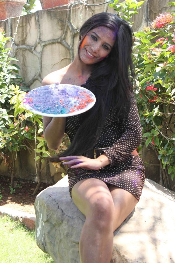 Poonam Smiling Pose Photo Still During Promotion Of Water Less Holi Festival