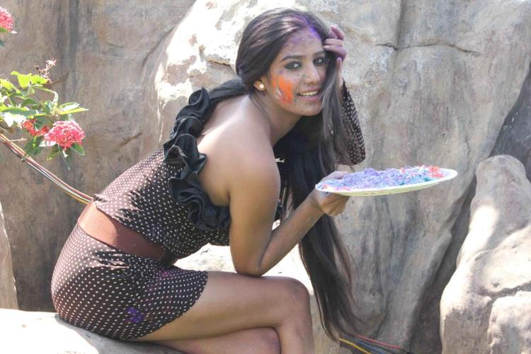Poonam Spicy Look Photo Still During Promotion Of Water Less Holi Festival